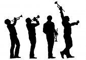 Music man whit trumpet  on white background