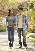 stock photo of coy  - Hispanic couple holding hands - JPG