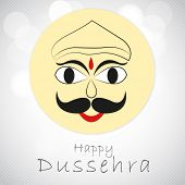 Illustration of Ravana face in childish way with stylish text on seamless grey background.