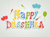 Stylish colourful text of Happy Dussehra with ballons and crackers on gery background.