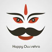 stock photo of ravana  - Illustration of  laughing Face of Ravana  with big moustache and stylish text - JPG