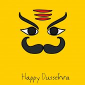 Illustration of Ravana face with big black moustache and eye brows on bright golden background with stylish text.