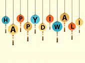 picture of dharma  - Illustration of stylish hanging design in text of happy diwali on white background - JPG