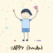Illustration of little cute boy playing crackers with happiness and stylish text of happy diwali on