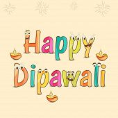 Poster of Happy Deepawali text in childish style with illuminated  lit lamps, funny faces and crackers.