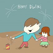Little cute kids playing with crackers on diwali celebration with beautiful text on blue and brown b