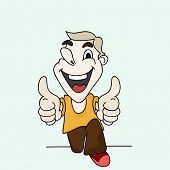 Laughing cartoon character of a boy with thumbs up impression.