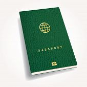green leather biometric passport with globe icon