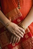 image of salwar  - Close up of Indian woman in traditional dress - JPG