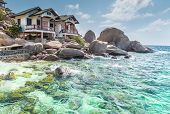 typical resort view at Koh Tao island Thailand