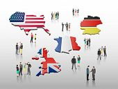 International business people vector with flag on grey background