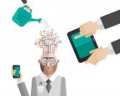 Nurturing business mans ideas vector  on white background