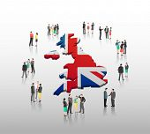 British business people vector with flag on grey background