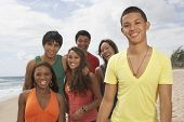 Multi-ethnic friends at beach