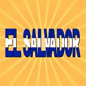 El Salvador flag text with sunburst vector illustration