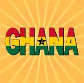 Ghana flag text with sunburst vector illustration