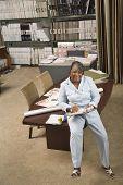 African American sales representative in flooring store