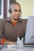 African American businessman wearing headset