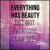Inspirational Typographic Quote - Everything has beauty but not everyone can see