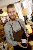 Man working in wine shop