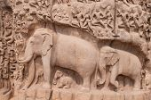 stock photo of arjuna  - One of the ancient architectural wonders of the Pallava kings in south India - JPG