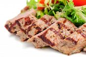 pic of veal meat  - Veal meat with fresh vegetable salad - JPG