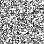Cute abstract seamless pattern with doodles