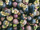 Mangosteen Fruit background.