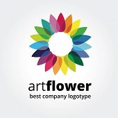 Abstract vector colored flower similar to sun logotype concept isolated on white background. Key ideas is spa, beauty, design, nature, creative, health. Good for corporate identity and branding