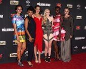 LOS ANGELES - OCT 2:  Alanna Masterson, Sonequa Martin-Green, Lauren Cohan, Emily Kinney, Danai Gurira, M McBride at the