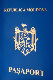 picture of passport template  - Passport cover of republic of moldova with coat of arms and selective focus - JPG