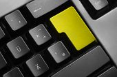 Grey Keyboard Yellow Colored Enter Button