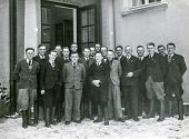 BERLIN, GERMANY, CIRCA 1930's: Vintage photo of group of men in front of building