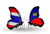 Two Butterflies With Flags On Wings As Symbol Of Relations Thailand And Liechtenstein