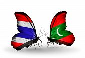 Two Butterflies With Flags On Wings As Symbol Of Relations Thailand And Maldives