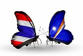 Two Butterflies With Flags On Wings As Symbol Of Relations Thailand And Marshall Islands
