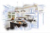 Beautiful Custom Kitchen Blue Design Drawing and Photo Combination.