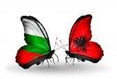 Two Butterflies With Flags On Wings As Symbol Of Relations Bulgaria And Albania
