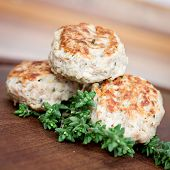 image of meatball  - meatballs with thyme on wooden plate close up - JPG