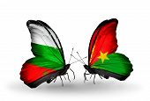 Two Butterflies With Flags On Wings As Symbol Of Relations Bulgaria And Burkina Faso