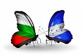 Two Butterflies With Flags On Wings As Symbol Of Relations Bulgaria And Honduras