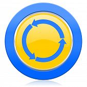refresh blue yellow icon reload blue yellow icon