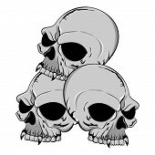 Triple Grey Skulls