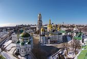 aerial view of Kiev-Pechersk Lavra at winter