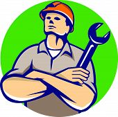 Builder Arms Crossed Wrench Circle Retro