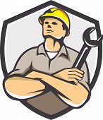Builder Arms Crossed Wrench Shield Retro