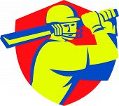 picture of bat  - Illustration of a cricket player batsman with bat batting set inside shield crest done in retro style on isolated background - JPG