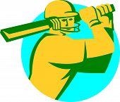 Cricket Player Batsman Batting Circle Retro