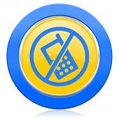 no phone blue yellow icon no calls sign