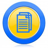 document blue yellow icon pages sign